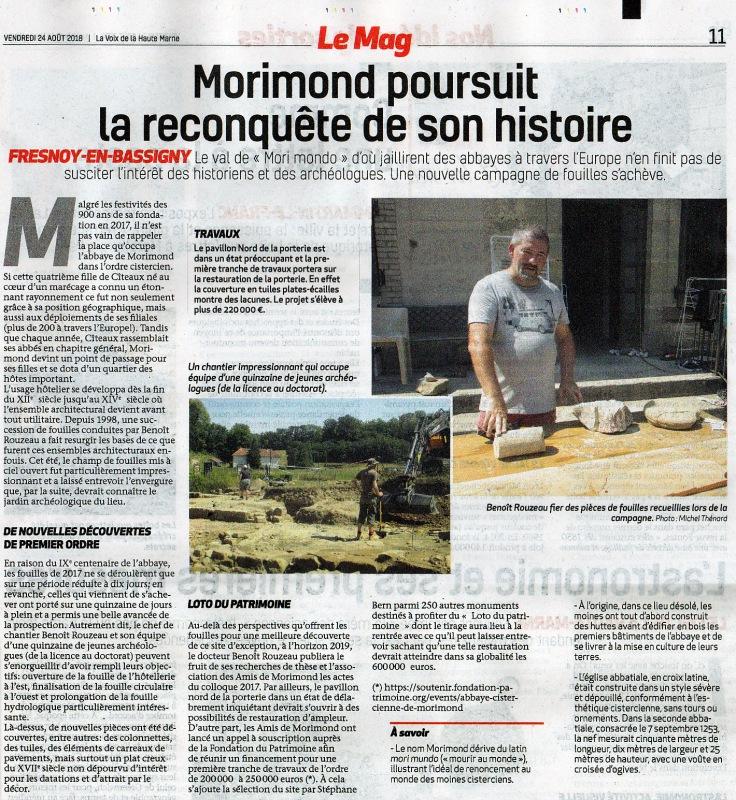 Un premier bilan des fouilles 2018 dans La Voix par Michel Thénard